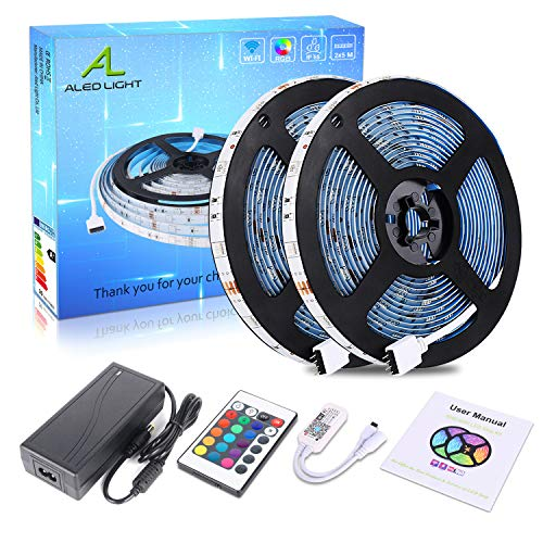 Striscia LED WiFi 10M (2 x 5M), ALED LIGHT RGB LED Strip 5050 SMD 300 LEDs (2 x 150), Sync con Musica, Impermeabile IP65, Smart Telefono App Controllato LED Band, Lavoro con Alexa, Google Home