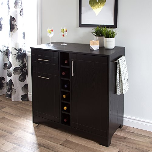 South Shore Bar Cabinet with Bottle and Glass Storage, Black Oak