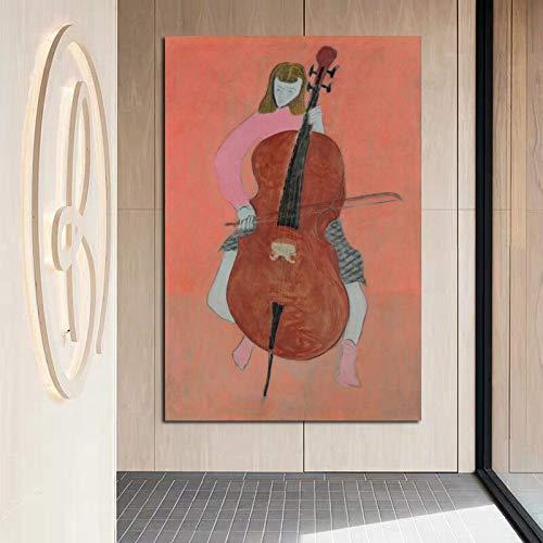 KWzEQ Pintor Moderno niña Tocando el Violonchelo Pintura Mural Lienzo Sala de Estar Moderna decoración del hogar,Pintura sin Marco,30x45cm