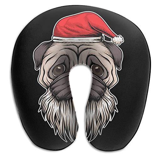 LXJ-CQ Almohada para el Cuello Pug Perro Sombrero y Barba Papá Noel Navidad Almohada de Viaje en Forma de U Diseño ergonómico Contorneado Funda Lavable