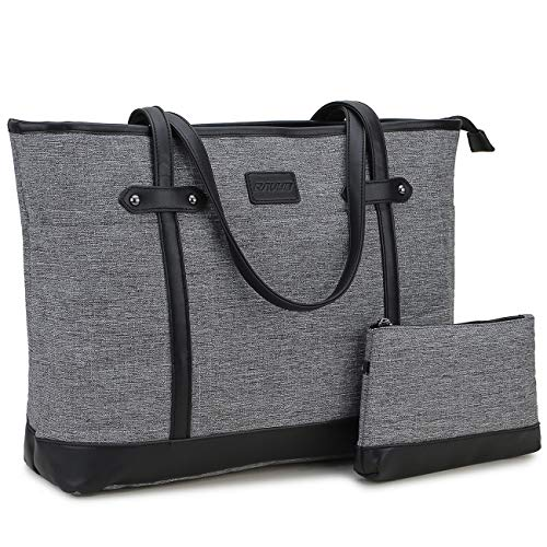 Laptop Bag for Women,RAVUO Water Resistant Lightweight 15.6 Inch Laptop Tote Bag Business Travel Handbag with Front 3 Pockets