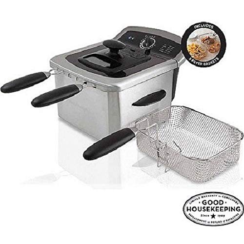 Farberware 4L Dual Deep Fryer with 3 Fryer Baskets, Stainless Steel
