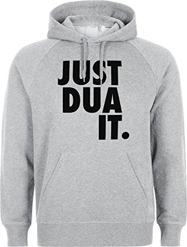 Just DUA IT Classic - Islam Hoodie SLAMISCHE Streetwear Kapuzenpulli Kapuzenpullover Kleidung FÜR Muslime BEDRUCK Outdoor Islam Fashion (XL, Grau)