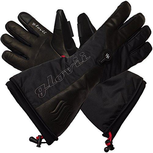 Glovii - Guantes calentados térmicamente con esquí térmico, tamaños: S, M, L, XL, Negro (L)