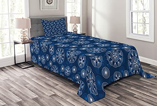 ABAKUHAUS Weihnachten Tagesdecke Set, Winter-Muster Schneeflocken, Set mit Kissenbezügen Mit Digitaldruck, 170 x 220 cm, Nachtblau & Weiß