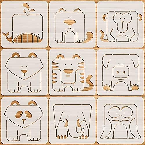 OOTSR 9Pcs Plantillas de Dibujo para Niños, 13x13cm Plantillas para Pintar, Plantillas de Plástico de Animales para Manualidades, Plantillas Reutilizables para para Madera, Diseño de Pared