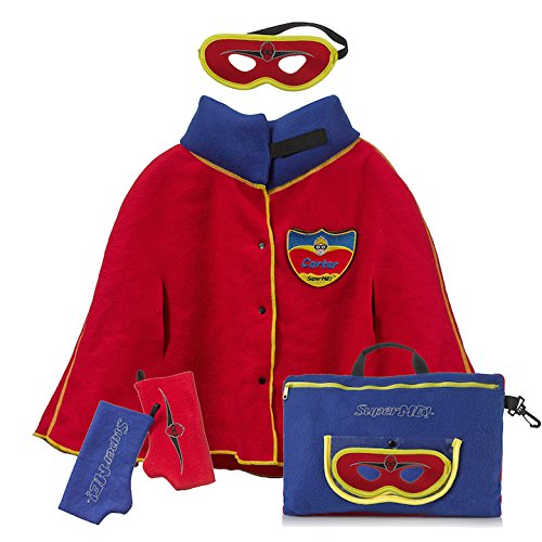 SUPERME! Plush Pillow and Cape Classic Cape Red and Blue, Travel Pillow for Kids, Travel Eye Mask for Kids, Blanket Wrap, Best Plush Pillow, for Boys