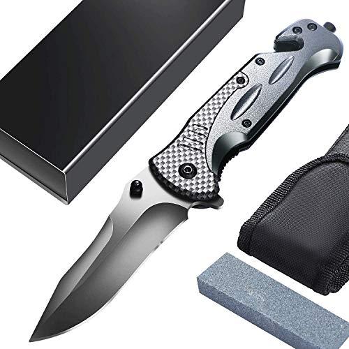 Taschenmesser Multifunktion Einhand Klappmesser, Outdoor-Messer, Survival Messer mit Schleifstein&Messertasche, für Arbeit Wandern Camping, Vatertagsgeschenk