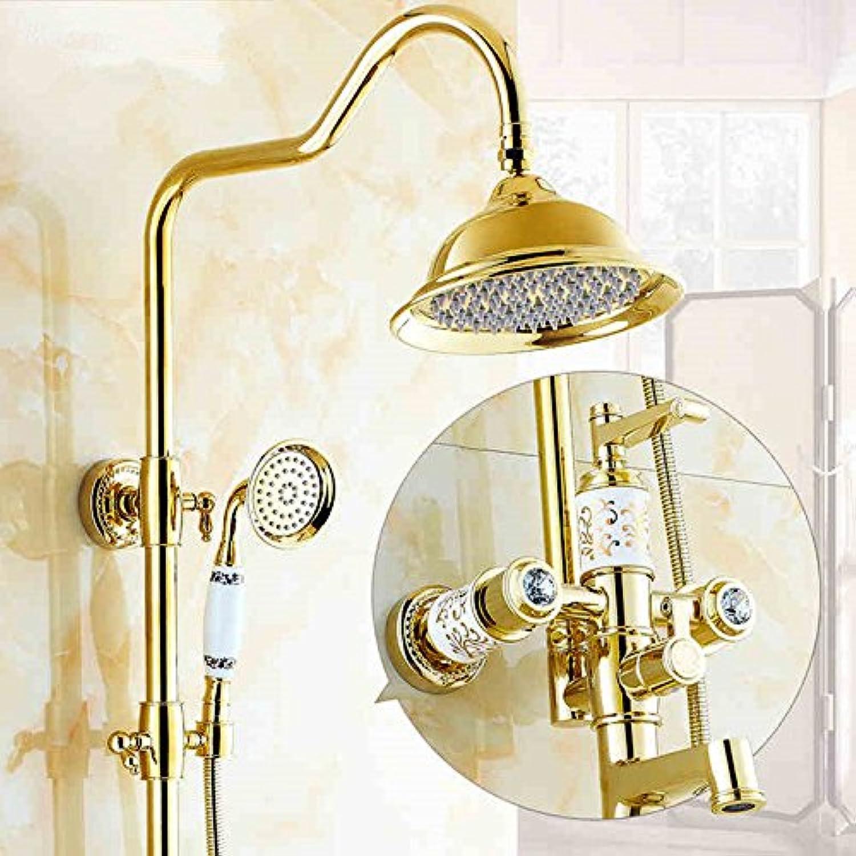 Zxy Home Bathroom ZXYEuropean gold shower set bath pink hot cold shower shower faucet