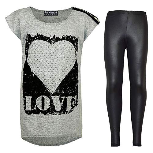 Kinderen Meisjes Liefde Gedrukt Trendy Top & Mode Wetlook Legging Set Leeftijd 7 8 9 10 11 12 13 Jaar