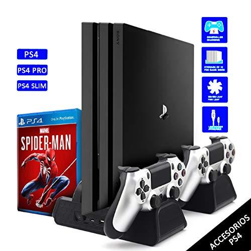Soporte Vertical para PS4, PS4 Pro, PS4 Slim, Base de Enfriamiento Multifuncional con 3 Ventiladores Refrigeración, 2 Puertos USB, 2 Estación de Carga de Mando Controlador,12 Almacenamiento de Discos