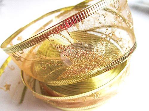 CaPiSo 20m Weihnachtsband 40mm Drahtverstärkung Schleifenband Geschenkband mit Sternen Glitzer Weihnachten (Große Sterne Gold)