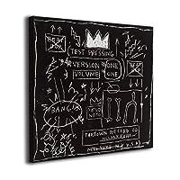 Joycego ジャン=ミシェル・バスキア アートパネル アートフレーム キャンバス印刷 インテリア モダン 壁掛け (40cm*40cm, black)