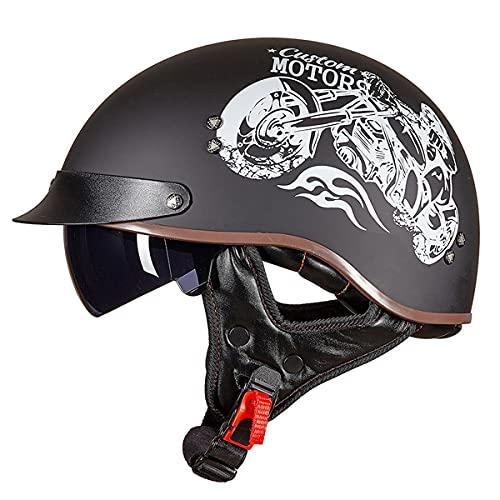 WUHX Casco de Cara Abierta Motocicleta Transpirable Motocicleta Casco Motocicleta Half Cascos con Visera Sun Vintage Harley Cascos Removibles 3/4 Helmet Jet Style Casco,10,L