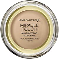 Max Factor Miracle Touch Foundation, New and Improved Formula, SPF 30 and Hyaluronic Acid, 60 Sand