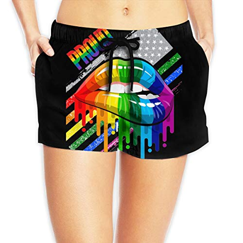 Lesbian Rainbow Lips Pride Women's Female Beach Pants Summer Beachwear Board Shorts