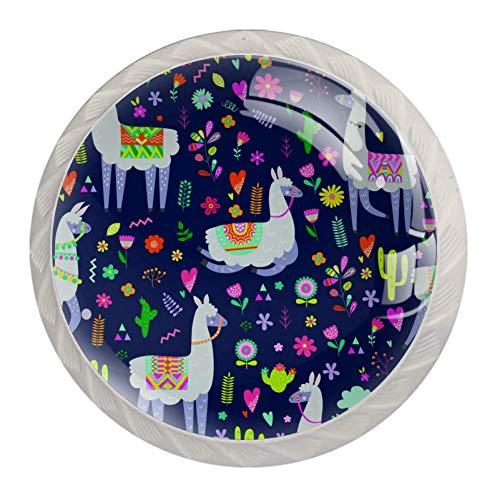 Schubladengriffe mit Llama-Kaktus-Motiv, kindliche Textur, für Schrank, Frisiertisch, Kommode, mit Schrauben, 4 Stück