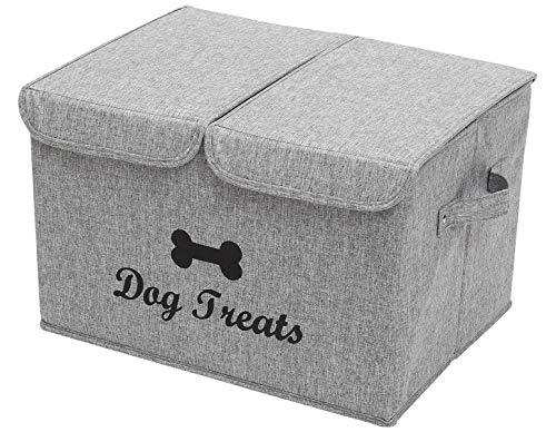 Cajas de almacenamiento grandes – grandes de tela de lino plegable cubos de almacenamiento con tapa y asas para ropa de perro y accesorios, abrigos de perro, juguetes para perro, ropa de perro
