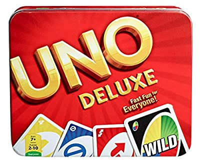 UNO Deluxe Card Game for with 112 Card Deck, Scoring Pad and Pencil, Kid Teen & Adult Game Night for 2 to 10 Players, Makes a Great Gift for 7 Year Olds and Up
