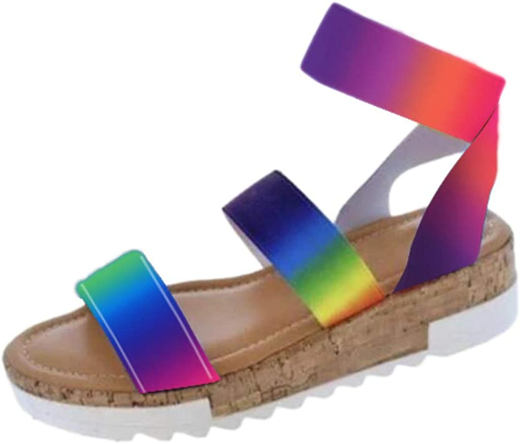 Women's Ankle Strap Rainbow Color
