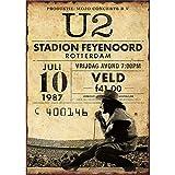 U2 Stadion Feyenoord Rotterdam Metall Poster Retro
