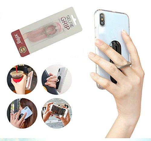 Telefoon Terug Selfie Grip Universele Stijlvolle Smartphone 360 ° Draaien Bewegende Vinger Loop Stand/Houder, Verwijderbare/Verplaatsbare Vinger Ring Mount voor iPhone X 8 7 Plus 6S Samsung etc., Indy pink