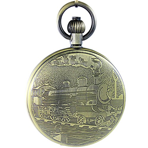 OGLE Waterproof Bronze Train Chain Large Digital Noctilucence Fob Self Winding Automatic Skeleton Mechanical Pocket Watch