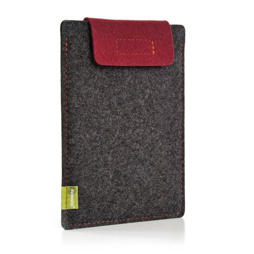 Almwild® Hülle Case iPad 11. iPad 10.2, 10.5 mit/ohne Smart Cover. Sleeve aus Filz in Schiefergrau. Verschluß Bordeaux/Smartcover geeignet! iPad Tasche aus bayerischer Manufaktur