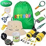 UTTORA Prismaticos niños,Kit de Binoculares para Niños ,Regalos para niños,Kit Explorador niños,Juguetes niños 3-12 de Aventura al Aire Libre Juguetes educativos (25 Piezas)