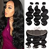 Beauhair Brazilian Virgin Hair, 13x4 Lace Frontal Closure with Bundles Brazilian Body Wave 3 Bundles with Frontal Natural Color 100% Unprcessed Human Hair Extension (20 22 24+18' Frontal)
