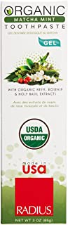 RADIUS - Organic Coconut Oil Toothpaste, USDA Organic Certified Naturally Whitening and Reduces Risk of Cavities and Gingi...