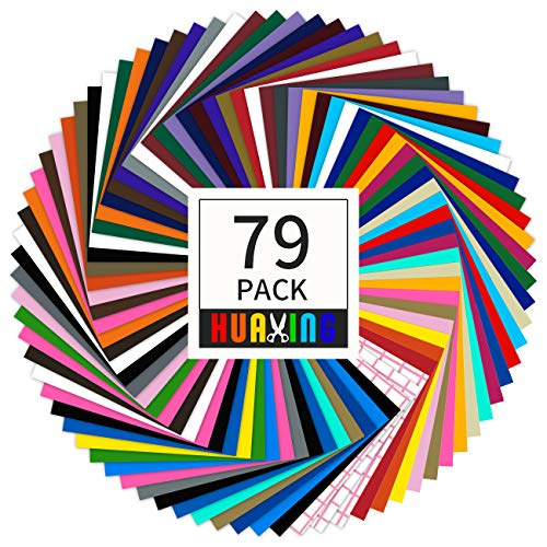 """Huaxing Permanent Self Adhesive Vinyl Sheets (Pack of 79, 12"""" X 12"""") - 38 Assorted Colors Premium Adhesive Craft Outdoor Vinyl for Decor Sticker"""