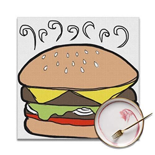 Houity Cartoon Burger Wasbaar Zacht Voor Keuken Diner Tafelmat, Gemakkelijk te reinigen Handige Opvouwbare Opslag Placemat 12x12 Inches Set Van 4