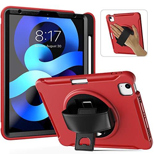 Funda para iPad Air 4 2020 con soporte para lápices   Funda para iPad Air de 10,9 pulgadas   Cuerpo completo a prueba de golpes resistente funda protectora para iPad Air 4ª generación (rojo)