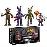 4PCS Five Nights at Freddy's Action Figure Toys Anime PVC FNAF Bonnie Foxy Freddy Fazbear Bear Model Gold Freddy Toys for Children Birthday Gift Halloween Decorations (1.9 Inch)