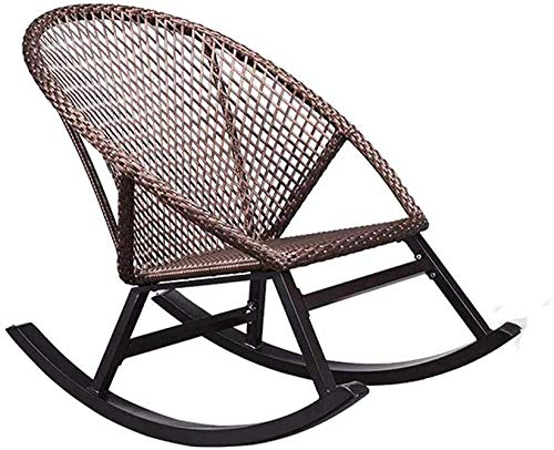 Lounger Lounge Chair, schommelstoel Balkon Stoel van de rotan fauteuil, Wicker Rocker Lounge Chair for Garden Courtyard Porch Grass (met kussens) 8bayfa