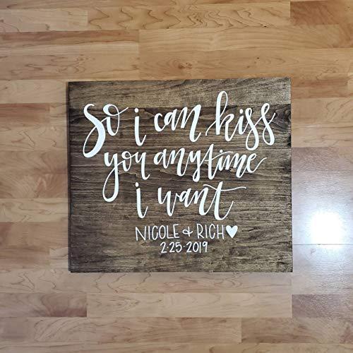 Ced454sy zodat ik je kan kussen wanneer ik wil rustieke bruiloft Decor houten teken bruiloft Aisle verloving en bruiloft cadeau