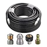 M MINGLE Sewer Jetter Kit for Pressure Washer, 1/4 Inch NPT, 100 Feet Hose, Button Nose and Rotating Sewer Jetting Nozzle, Orifice 4.0, 4.5, Pressure 4000 PSI