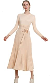 FINCATI Long Sweater Dress Autumn Winter Cashmere Belt Fitted Waist Big Swing Flared Calf Length Maxi Dresses
