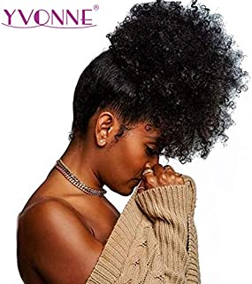 Yvonne Brazilian Virgin Afro Kinky Curly Drawstring Ponytail Human Hair Clip In Extensions Natural Color 1 Piece (22