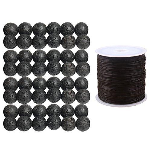 48 PCS 8mm Noir de Pierre de Lave Ronde de Perles en Vrac volcaniques avec Un Cordon d'étirement Couleur aléatoire pour DIY Making Bracelet Collier Bijoux Artisanat Projet