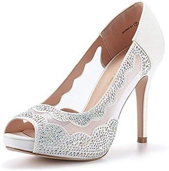 DREAM PAIRS Women s Divine-01 White High Heel Pump Shoes - 9 M US
