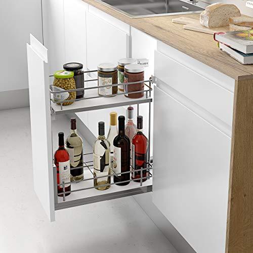 Casaenorden - Botellero extraíble con base de melamina para instalar en la base del mueble de cocina, 400