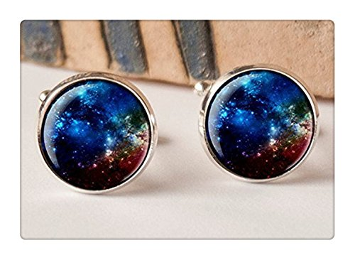 Dtsang Boutons de manchette bleu foncé nébuleuse, Galaxy, boutons de manchette Homme, Idée Cadeau, système solaire, mariage, boutons de manchette, Vin