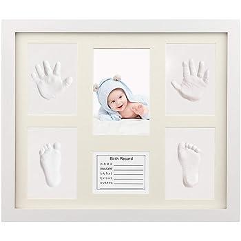 iKing ベビーフレーム 手形 足形 赤ちゃん フォトフレーム 写真立て 置き掛け兼用 ママ安全 無毒 木製フレーム 長持ち DIY メモリアルグッズ 新生児 ベビー記念品 出産ギフト