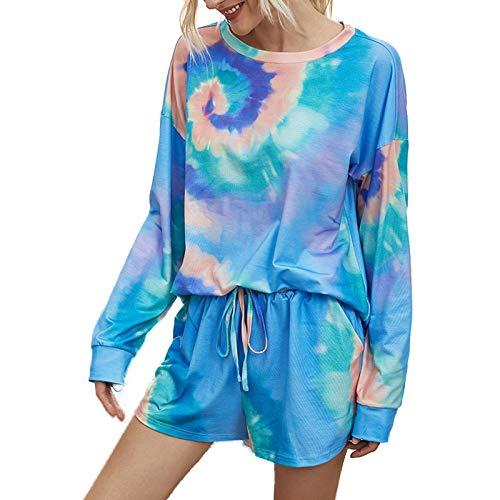 Conjunto de pijama de teñido anudado con bolsillos de manga larga parte superior corta de camuflaje ropa de dormir casual chándal