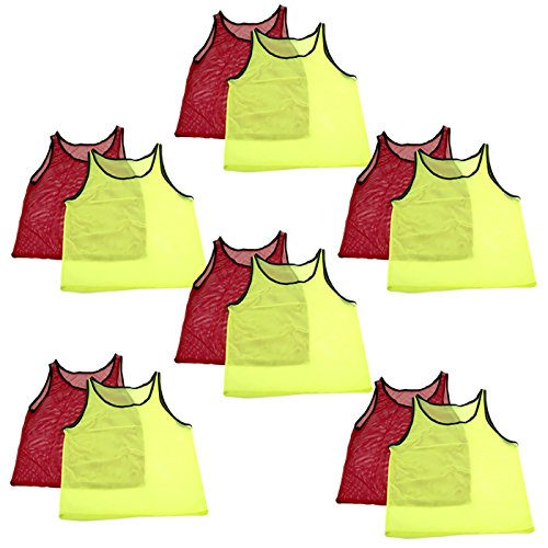 Adorox 12 Pack Adult - Teens Scrimmage Practice Jerseys Team Pinnies Sports Vest Soccer, Football, Basketball, Volleyball (6 Yellow and 6 Red)