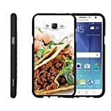 TurtleArmor   Compatible with Samsung Galaxy J7 Case (2015)   J700 [Slim Duo] Hard Compact Light Rubberized 2 Piece Cover Shell on Black Food - Taco Tuesday
