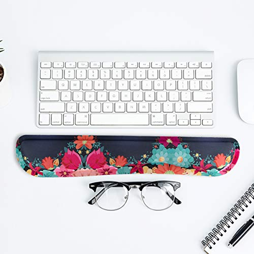 Keyboard Wrist Rest Pad Support with Comfortable Memory Foam Padding, Non-Slip Rubber Base and Ergonomic Design for PC Computer Laptop Mac