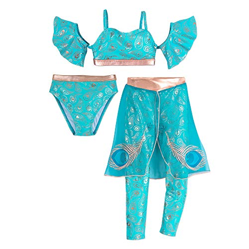 Disney Jasmine Deluxe 3-Piece Swimsuit for Kids Green